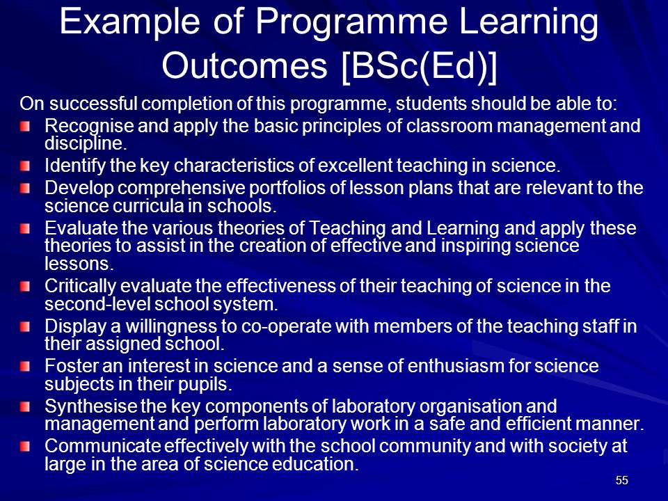 Example of Programme Learning Outcomes [BSc(Ed)]